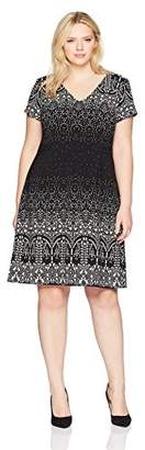 Adrianna Papell Women's Size Plus Lace Majesty Printed A-line
