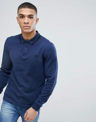 Fred Perry Slim Fit Long Sleeve Tipped Polo In Blue