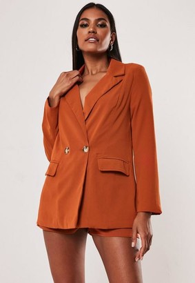Missguided Petite Terracotta Co Ord Long Blazer