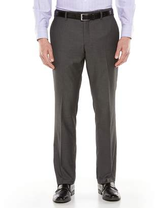 Savile Row Men's Sharkskin Flat-Front Gray Suit Pants