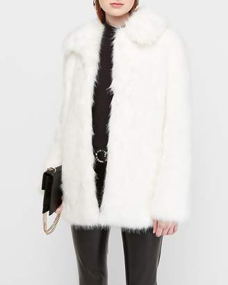 Express Collared Long Faux Fur Coat