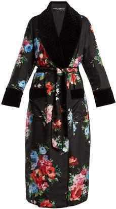 Dolce & Gabbana Rose-print velvet-trimmed coat