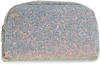 Skinnydip Crescent Teal Glitter Makeup Bag