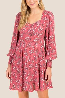francesca's Renee Floral Sweetheart A-Line Dress - Rose