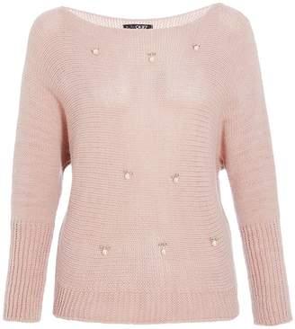 Quiz Pink Knit Pearl Detail Jumper