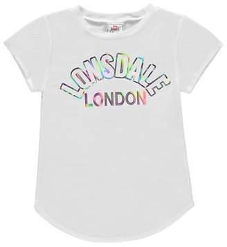Lonsdale London Kids Girls Large Logo Crew T Shirt Neck Tee Top Short Sleeve Print