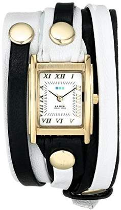 La Mer Women's LMLWMIX002 White Black Mix Layer Bracelet Wrap Watch