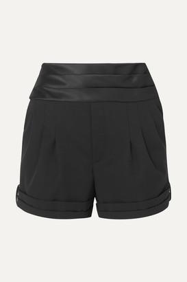 Saint Laurent Satin-trimmed Wool Grain De Poudre Shorts - Black