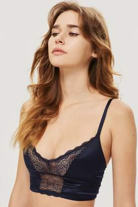 Topshop Womens Navy Satin And Lace Bralet
