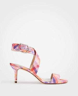 Ann Taylor Letha Gingham Wrap Heeled Sandals