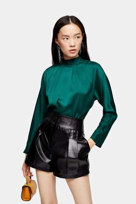 Topshop Twist Back Satin Blouse
