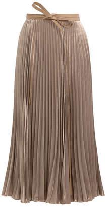 Valentino Pleated Velvet Skirt with Silk