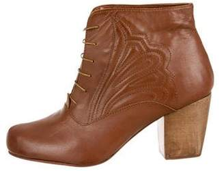Rachel Comey Embroidered Round-Toe Booties