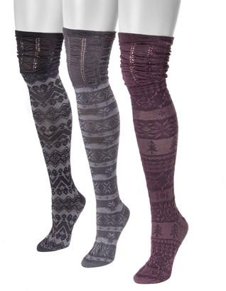 5cfe650ee9e60 Muk Luks Women s 3-Pair Pack Microfiber Over-the-Knee Socks