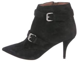 Tabitha Simmons Suede Pointed-Toe Booties Black Suede Pointed-Toe Booties