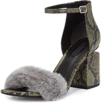 Alexander Wang Abby Snakeskin City Sandal with Fur Trim