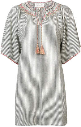 The Great striped embroidered smock dress