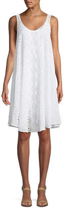 Johnny Was Mixed Eyelet Georgette Shift Dress with Slip