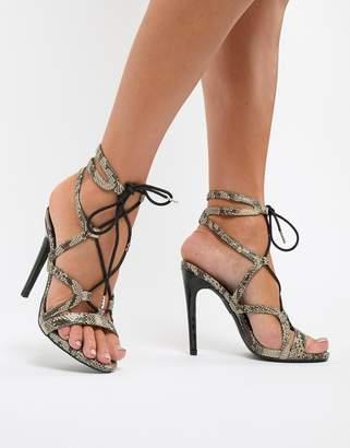 New Look Stiletto Snake Heeled Sandal