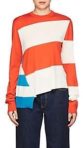 Women's Striped Wool-Blend Asymmetric Sweater - Red, Wht/Turq Size M