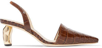 REJINA PYO - Conie Croc-effect Leather Slingback Pumps - Chocolate