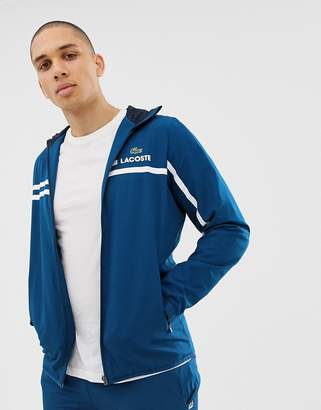 Lacoste zip through logo hooded stripe jacket