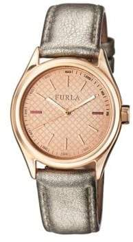 Furla Eva Rose Gold Dial Calfskin Leather Watch