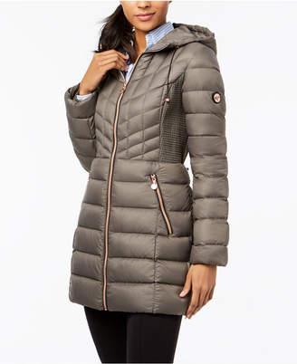Bernardo Quilted Hooded Puffer Coat