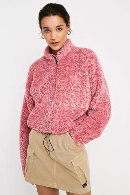 Urban Outfitters Pink Marshmallow Teddy Track Jacket - pink S at