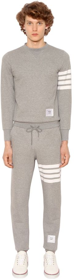 Thom Browne Back Zip Cotton Sweat Jumpsuit