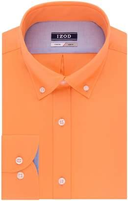 Izod Men's Slim Fit Solid Buttondown Collar Dress Shirt