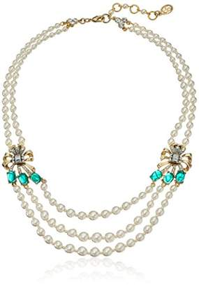 Swarovski Ben-Amun Jewelry Golden Era Crystal Bow Glass Pearl Strand Necklace for Bridal Wedding Anniversary