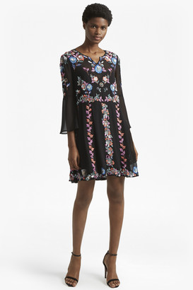 French Connection Edith Floral Bell Sleeve Flared Dress