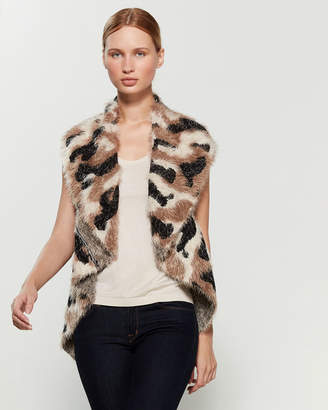 Sioni Animal Pattern Faux Fur Vest