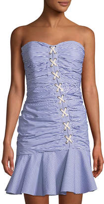 Contemporary Designer Striped Strapless Lace-Up Bustier Flounce Dress