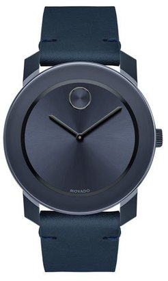Movado 42mm Bold Watch with Leather Strap, Navy $395 thestylecure.com