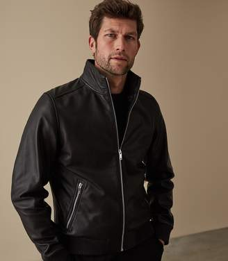 Reiss ORDER BY MIDNIGHT DEC 15TH FOR CHRISTMAS DELIVERY HARRIS LEATHER FUNNEL NECK JACKET Black