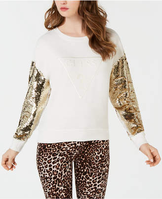 GUESS Metallic-Sleeve Logo Sweater