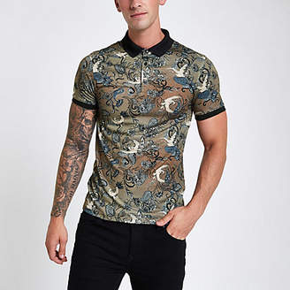 River Island Brown crane print muscle fit polo shirt