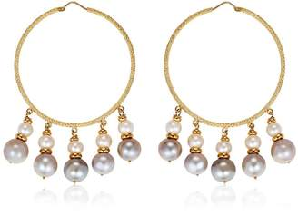 Carolina Bucci Medium Hoops W/ Pearls