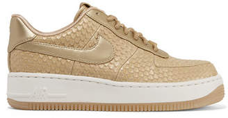 Nike Force 1 Metallic Snake-effect Leather Sneakers - Gold