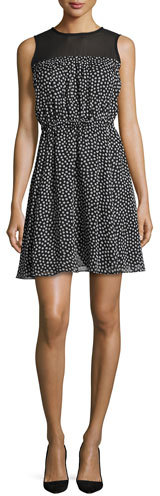 Kate Spade Kate Spade New York Sleeveless Silk Chiffon Polka-Dot Dress, Black/Cream