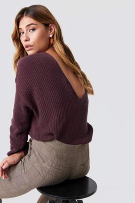 NA-KD Na Kd Knitted Deep V-neck Sweater Burgundy