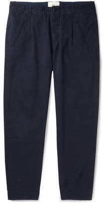 Folk Assembly Tapered Pleated Cotton Trousers - Men - Navy