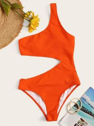 Shein One Shoulder Textured Cut-out One Piece Swim