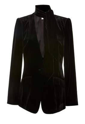 Frame Necktie Velvet Blazer