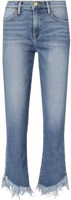 Frame Le High Straight Fringe Hem Jeans