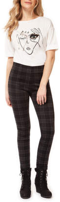 Dex Black Check Legging with Front Pintuck