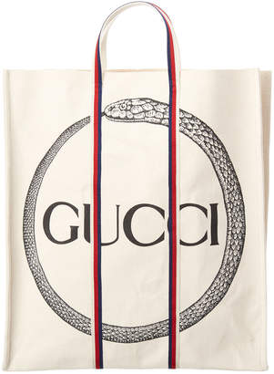 Gucci Ouroboro Print Canvas Tote