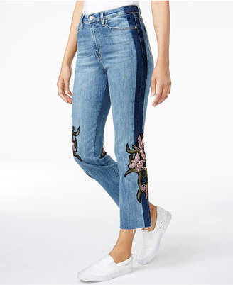 Buffalo David Bitton Ivy Floral-Patched Cropped Jeans $118 thestylecure.com